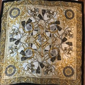 Vintage Black Gold Nautical Baroque Scarf